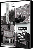 Ann Powell Canvas Prints - Signs in Salida photography collage Canvas Print by Ann Powell