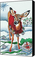 Animal Greeting Card Canvas Prints - Silver Bells Canvas Print by Joy DiNardo Bradley         DiNardo Designs