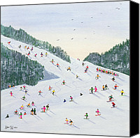 Slopes Painting Canvas Prints - Ski vening Canvas Print by Judy Joel