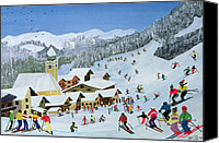 Slopes Painting Canvas Prints - Ski Whizzz Canvas Print by Judy Joel