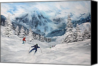 Slopes Painting Canvas Prints - Skiing in Italy Canvas Print by Jean Walker