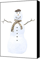 Scarf Photo Canvas Prints - Snowman Canvas Print by Christopher Elwell and Amanda Haselock