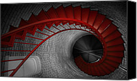 Staircase Canvas Prints - Spiral Staircase Canvas Print by Dapixara Art