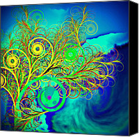 Spiral Canvas Prints - Spiral tree with blue background Canvas Print by GuoJun Pan