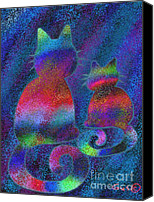 Nick Gustafson Canvas Prints - Splatter Cats Canvas Print by Nick Gustafson