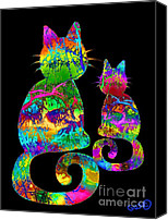 Nick Gustafson Canvas Prints - Splatter Cats3 Canvas Print by Nick Gustafson