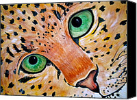Leopard Mixed Media Canvas Prints - Spotted Canvas Print by Debi Pople
