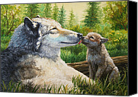 Wolf Painting Canvas Prints - Spring Kisses Canvas Print by Crista Forest