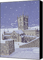 Snowy Night Painting Canvas Prints - St David s Cathedral in the Snow Canvas Print by Huw S Parsons