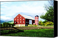 Star Barn Canvas Prints - Star Spangled Farm Canvas Print by Bill Cannon