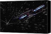 Star Digital Art Special Promotions - Star Trek - Wormhole Effect - USS Enterprise D Canvas Print by Jason Politte