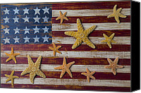 White Starfish Canvas Prints - Starfish on American flag Canvas Print by Garry Gay