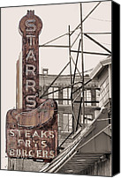 Diners Canvas Prints - Stars Steaks Frys and Burgers Canvas Print by JC Findley