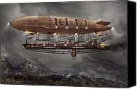 Cyberpunk Canvas Prints - Steampunk - Blimp - Airship Maximus  Canvas Print by Mike Savad