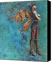 Gold Glove Canvas Prints - Steampunk Fairy Canvas Print by Molly Prince