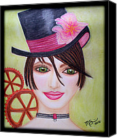 Brunette Pastels Canvas Prints - Steampunk Girl Canvas Print by Absinthe Art  By Michelle Scott