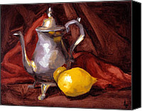 Lemon Painting Canvas Prints - Still Life with Tea Pot Canvas Print by Alison Schmidt Carson