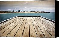 Tim Hester Canvas Prints - Stormy Jetty Canvas Print by Tim Hester