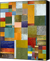 Block Canvas Prints - Strips and Pieces V Canvas Print by Michelle Calkins
