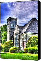 Christian Sacred Digital Art Canvas Prints - Sunlit Country Church Canvas Print by Dan Stone