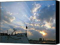 Featured Pyrography Canvas Prints - Sunrise Over Philadelphia  Canvas Print by Shoal Hollingsworth