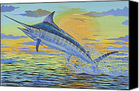Whale Painting Canvas Prints - Sunset Blue Canvas Print by Carey Chen