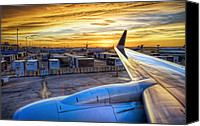 Dark Canvas Prints - Sunset over IAH Canvas Print by Scott Norris