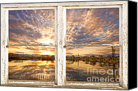 White Barn Canvas Prints - Sunset Reflections Golden Ponds 2 White Farm House Rustic Window Canvas Print by James Bo Insogna