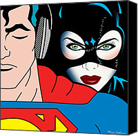 Human Beings Canvas Prints - Superman And Catwoman  Canvas Print by Mark Ashkenazi