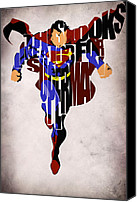 Superhero Canvas Prints - Superman - Man of Steel Canvas Print by Ayse Toyran