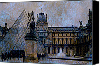 The Louvre Museum Canvas Prints - Surreal Blue Brown Paris Musee du Louvre Pyramid  Canvas Print by Kathy Fornal