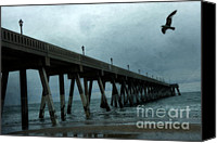 Beach Photos Canvas Prints - Surreal Ethereal Beach Ocean Fishing Pier With Seagull Canvas Print by Kathy Fornal