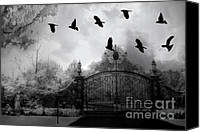 Halloween Scene Canvas Prints - Surreal Gothic Black and White Gate With Ravens Canvas Print by Kathy Fornal