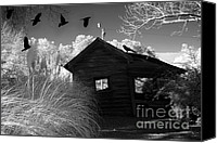 Halloween Scene Canvas Prints - Surreal Gothic Black White Infrared With Ravens Canvas Print by Kathy Fornal