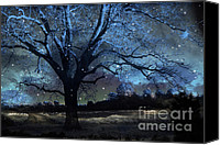 Autumn Photographs Canvas Prints - Surreal Gothic Fantasy Blue Trees Nature Stars Canvas Print by Kathy Fornal