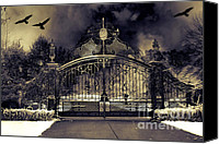 Halloween Scene Canvas Prints - Surreal Gothic Haunting Gate With Ravens Canvas Print by Kathy Fornal