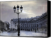 Shopping Canvas Prints - Surreal Paris Blue Street Lamps and Architecture Canvas Print by Kathy Fornal