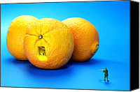 Telling Canvas Prints - Surrender Mr. Oranges little people on food Canvas Print by Mingqi Ge
