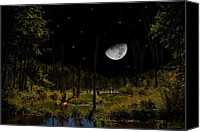 Digital Art Composite Canvas Prints - Swamped Moon Canvas Print by Christina Rollo