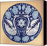 Featured Tapestries - Textiles Canvas Prints - Swan and lotus in circle  Canvas Print by Poonam Mehta Dutt