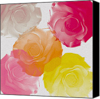 Georgeta Blanaru Canvas Prints - Sweet Roses oil digital painting Canvas Print by Georgeta Blanaru