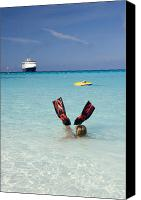 Cay Canvas Prints - Swimming at a Caribbean Beach Canvas Print by David Smith