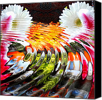 Signed Digital Art Canvas Prints - Symmetric still life. Flowers in the water. 2013 80/80 cm.  Canvas Print by Tautvydas Davainis