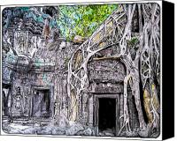 Ruins Drawings Canvas Prints - Ta Prohm Ruins Canvas Print by Simon Velazquez