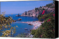 Wave Special Promotions - Taormina Beach Canvas Print by Dany Lison Photography