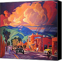 Approaching Canvas Prints - Taos Inn Monsoon Canvas Print by Art West