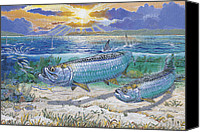 Bud Painting Canvas Prints - Tarpon cut Canvas Print by Carey Chen