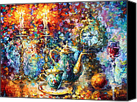 Burning Candles Canvas Prints - Tea Time Canvas Print by Leonid Afremov
