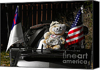Vehicles Canvas Prints - Teddy Bear Ridin On Canvas Print by Christine Till