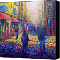 Lights Framed Prints Canvas Prints - Temple Bar Dublin Canvas Print by John  Nolan